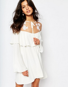photo Elenora Mini Dress with Embroidery by For Love and Lemons, color White - Image 1