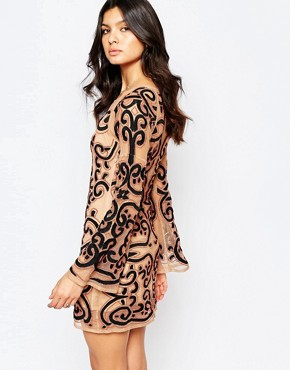 photo Antonina Mini Dress in Embroidered Tulle by For Love and Lemons, color Black - Image 2