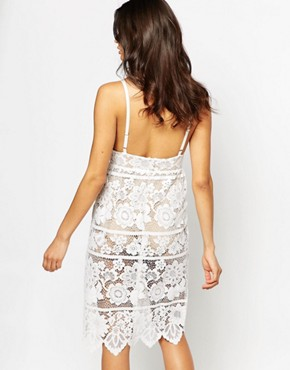 photo Gianna Midi Dress in White Lace by For Love and Lemons, color White - Image 2