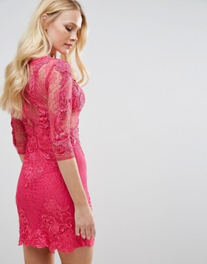 photo All Over Lace Dress by Forever Unique, color Fushia - Image 2