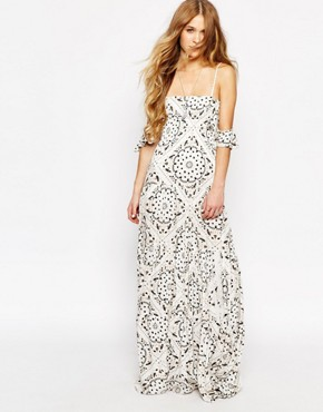 photo Slipper Maxi Dress in Bandana Angel Print by Jen's Pirate Booty, color Antique White - Image 1