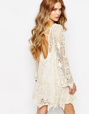 photo Mandolin Backless Mini Dress in Lace by Jen's Pirate Booty, color Cream - Image 1
