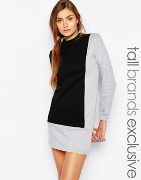 photo High Neck Colour Block Sweat Dress by One Day Tall, color Multi - Image 1