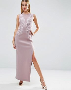 photo Lace Placed Sweetheart Maxi Dress by ASOS RED CARPET, color Lilac - Image 1