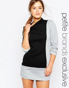 photo High Neck Colour Block Sweat Dress by One Day Petite, color Multi - Image 1