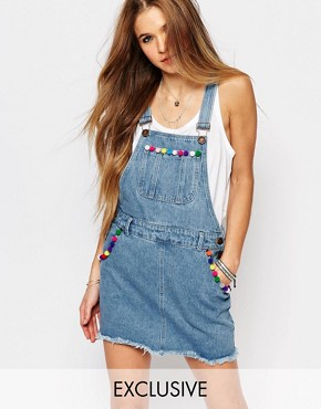 photo Dungaree Dress with Raw Hem and Pom Poms by Liquor & Poker, color Blue - Image 1