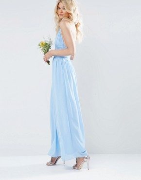 photo Halterneck Chiffon Maxi Dress by TFNC Petite WEDDING, color Blue - Image 2