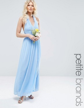 photo Halterneck Chiffon Maxi Dress by TFNC Petite WEDDING, color Blue - Image 1