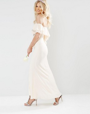 photo Off Shoulder Maxi Dress with Embellishment by TFNC Petite WEDDING, color Nude - Image 2