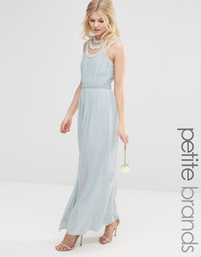 photo High Neck Embellished Maxi Dress by TFNC Petite WEDDING, color Green - Image 1