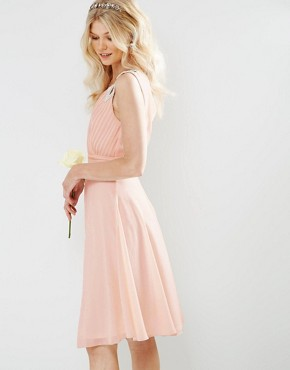 photo Prom Midi Dress with Embellished Shoulders by TFNC Petite WEDDING, color Nude - Image 2