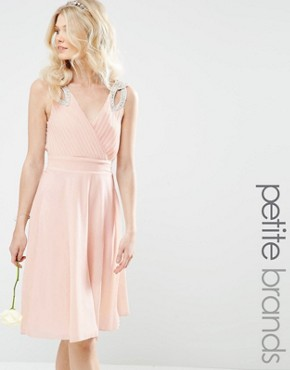 photo Prom Midi Dress with Embellished Shoulders by TFNC Petite WEDDING, color Nude - Image 1