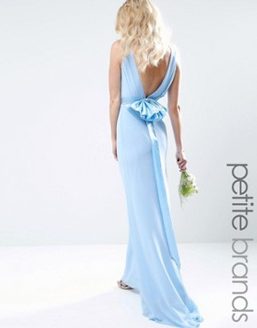 photo Sateen Bow Back Maxi Dress by TFNC Petite WEDDING, color Blue - Image 1