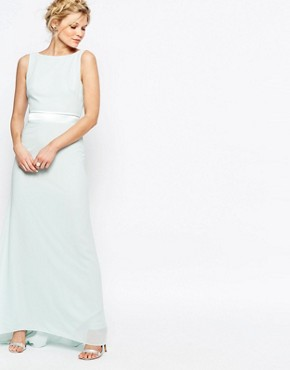 photo Sateen Bow Back Maxi Dress by TFNC Petite WEDDING, color Mint - Image 2