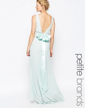 photo Sateen Bow Back Maxi Dress by TFNC Petite WEDDING, color Mint - Image 1