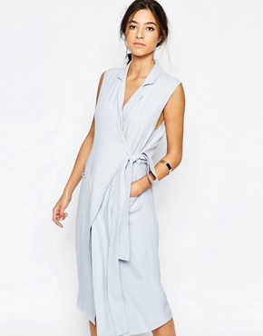 photo Silk Love Stone Sleeveless Trench Shirt Dress in Sky Blue by C/meo Collective, color Sky - Image 1