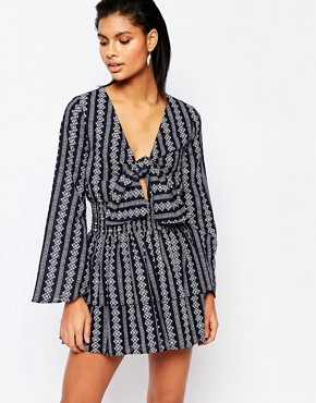photo Ruffle Mini Dress with Tie Front by Moon River, color Navy - Image 1