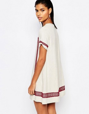 photo A-Line Tunic Dress with Embroidered Trim by Moon River, color Cream - Image 2