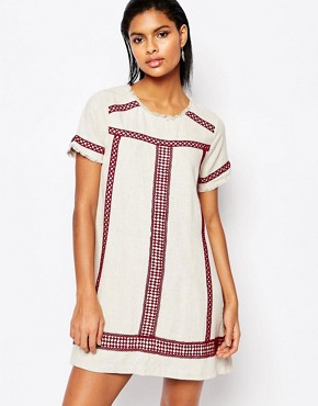 photo A-Line Tunic Dress with Embroidered Trim by Moon River, color Cream - Image 1