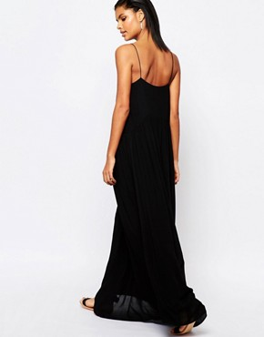 photo Maxi Dress with Spaghetti Straps and Cut Outs by Moon River, color Black - Image 2
