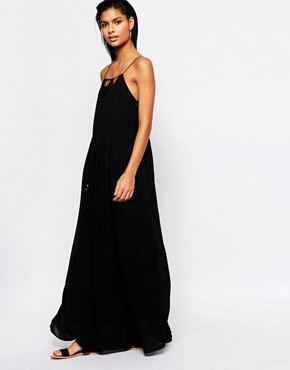 photo Maxi Dress with Spaghetti Straps and Cut Outs by Moon River, color Black - Image 1