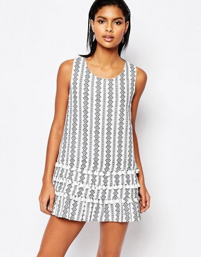 photo Printed Shift Dress with Tassles by Moon River, color White - Image 1