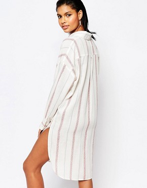 photo Striped Shirt Dress by Moon River, color White - Image 2