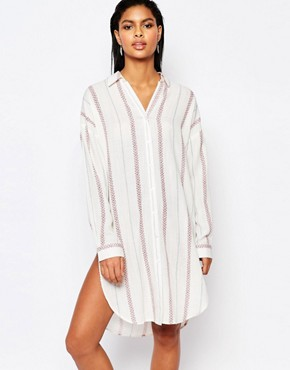 photo Striped Shirt Dress by Moon River, color White - Image 1