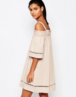 photo Off Shoulder Dress with Lace Trim by Moon River, color Blush Pink - Image 2