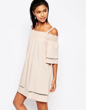 photo Off Shoulder Dress with Lace Trim by Moon River, color Blush Pink - Image 1