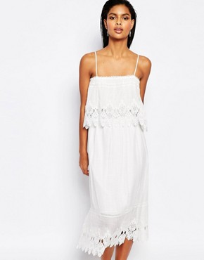 photo Double Layer Midi Dress with Lace Trim by Moon River, color White - Image 1