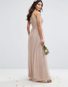 photo High Neck Maxi Tulle Dress with Tonal Delicate Sequins by Maya, color Mink - Image 2