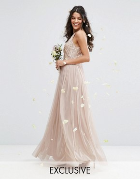 photo High Neck Maxi Tulle Dress with Tonal Delicate Sequins by Maya, color Mink - Image 1