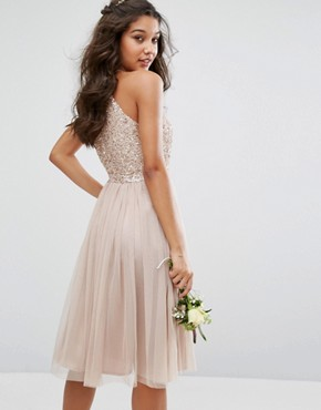photo High Neck Midi Tulle Dress with Tonal Delicate Sequins by Maya, color Mink - Image 2