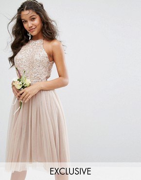 photo High Neck Midi Tulle Dress with Tonal Delicate Sequins by Maya, color Mink - Image 1