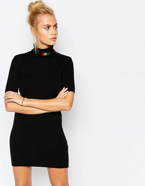 photo High Neck Git Dress with Festival Rainbow Logo by UNIF, color Black - Image 1