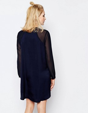 photo Hylte Shirt Dress with Sheer Panels by Samsoe & Samsoe, color Navy - Image 2
