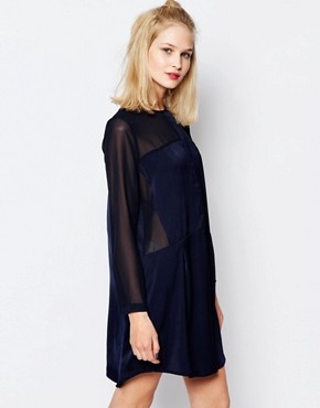 photo Hylte Shirt Dress with Sheer Panels by Samsoe & Samsoe, color Navy - Image 1