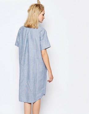 photo Linnes Long Shirt Dress in Stripe by Samsoe & Samsoe, color Blue Stripe - Image 2