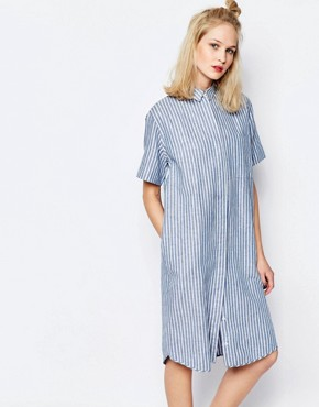 photo Linnes Long Shirt Dress in Stripe by Samsoe & Samsoe, color Blue Stripe - Image 1