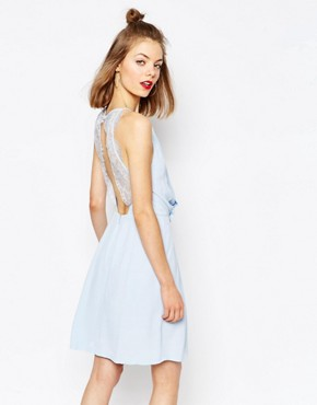 photo Willow Short Dress with Lace Inserts by Samsoe & Samsoe, color Cashmere Blue - Image 1