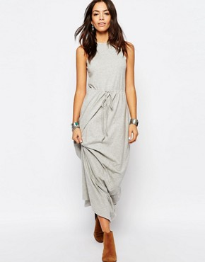 photo Tie Waist Jersey Maxi Dress by Esprit, color Grey - Image 1