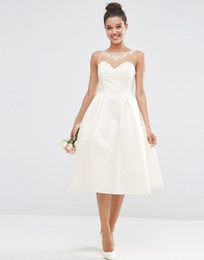 photo Crystal Sweetheart Midi Prom Dress by ASOS BRIDAL, color White - Image 1
