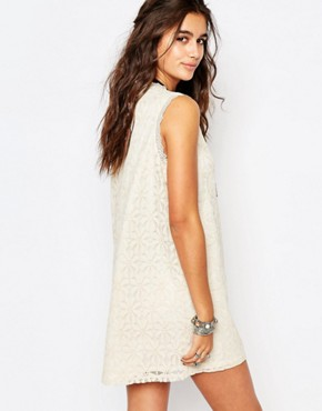 photo Lace Tunic Dress with Embroidered Festival Slogan by Native Rose, color Cream - Image 2