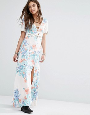 photo Daydreamer Lace up Front Festival Floral Maxi Dress by Somedays Lovin, color Multi - Image 1