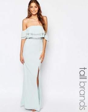 photo Off Shoulder Maxi Dress with Embellishment by TFNC Tall, color Mint - Image 1