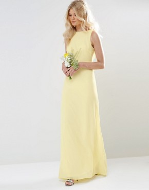 photo Sateen Bow Back Maxi Dress by TFNC Petite WEDDING, color Lemon - Image 2