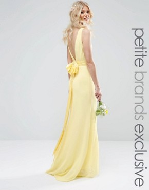 photo Sateen Bow Back Maxi Dress by TFNC Petite WEDDING, color Lemon - Image 1