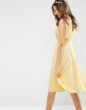 photo Prom Midi Dress with Embellished Shoulders by TFNC Tall WEDDING, color Soft Yellow - Image 2