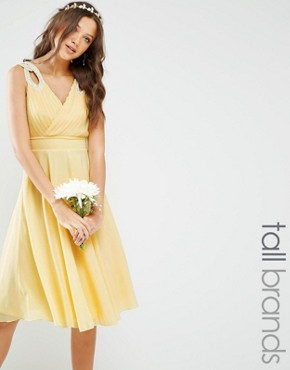 photo Prom Midi Dress with Embellished Shoulders by TFNC Tall WEDDING, color Soft Yellow - Image 1